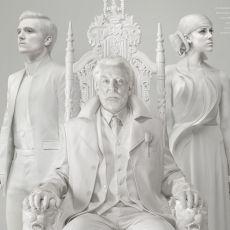 Peeta Mellark, Presidente Snow e Johanna Mason em pôster de A Esperança: Parte 1